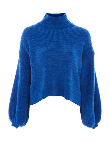 Topshop Boucle Balloon Sleeve Sweater-BLUE-UK 10/US 6