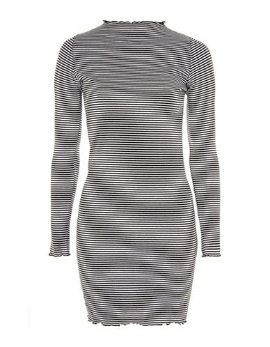 Topshop Stripe Frill Edge Bodycon-MONOCHROME-UK 14/US 10