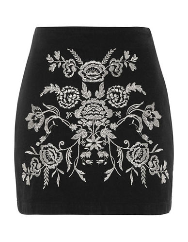 Topshop MOTO Embroidered A-Line Skirt-BLACK-UK 16/US 12