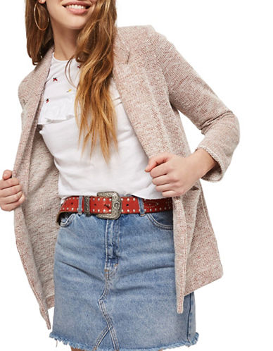 Topshop Boucle Jersey Jacket-BLUSH-UK 14/US 10
