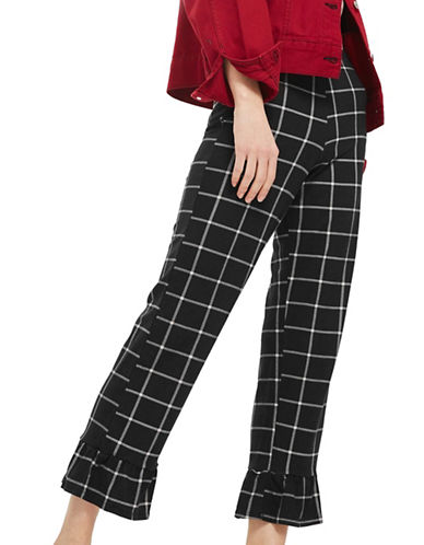 Topshop PETITE Window Checked Trousers-MONOCHROME-UK 4/US 0
