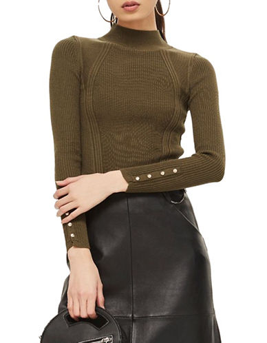 Topshop PETITE Roll Neck Sweater-KHAKI-UK 10/US 6