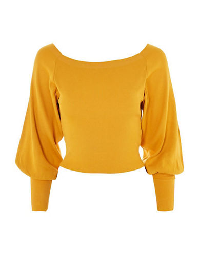Topshop Balloon Sleeve Bardot Top-MUSTARD-UK 14/US 10