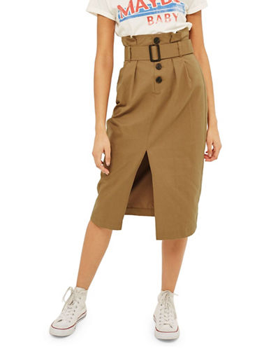 Topshop Utility Button Midi Skirt-CAMEL-UK 10/US 6