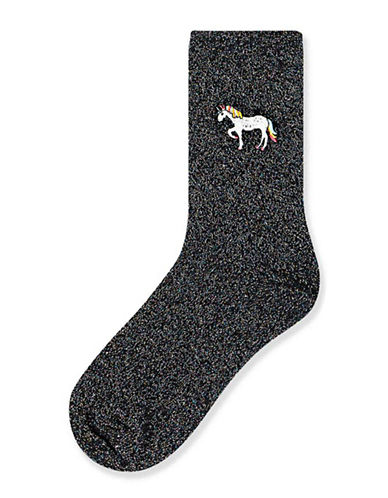 Topshop Glitter Unicorn Ankle Socks-BLACK-One Size