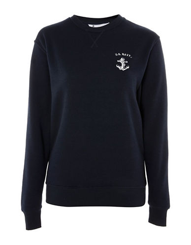 Topshop US Sweatshirt by Tee and Cake-NAVY BLUE-UK 10/US 6