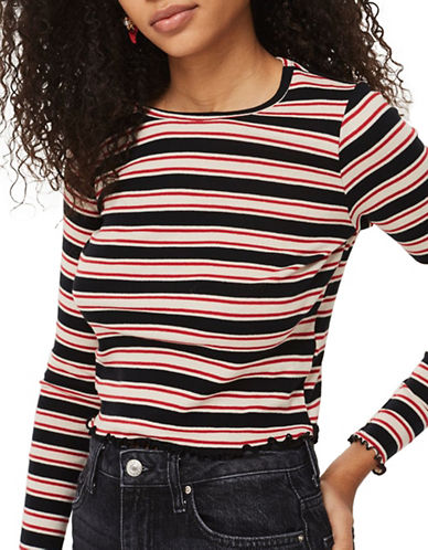 Topshop Multi-Striped Lettuce Top-MULTI-UK 14/US 10