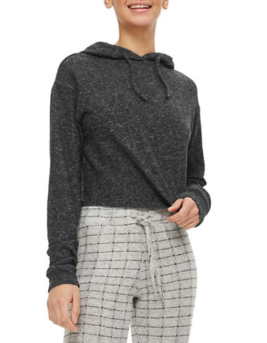 Topshop Brushed Hoodie-CHARCOAL-UK 10/US 6