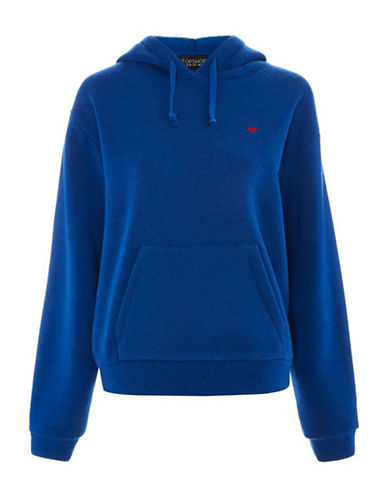 Topshop Embroidered Heart Hoodie-BLUE-UK 12/US 8