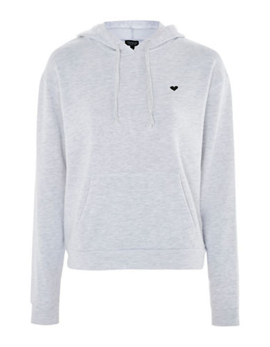 Topshop Embroidered Heart Hoodie-GREY-UK 12/US 8