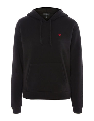 Topshop Embroidered Heart Hoodie-BLACK-UK 12/US 8