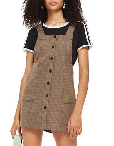 Topshop Heritage Checked Pinafore Dress-BROWN-UK 10/US 6