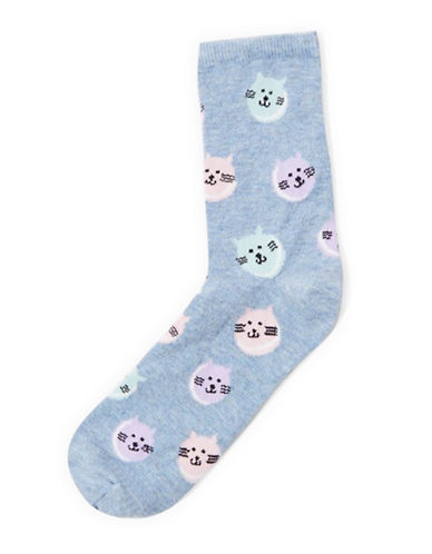 Topshop Cat Macaroon Ankle Socks-BLUE-1