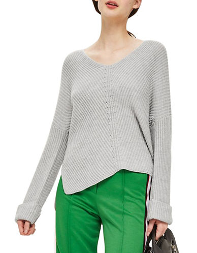 Topshop Cashmere-Blend Ribbed Sweater-GREY MARL-UK 10/US 6