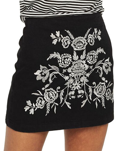 Topshop PETITE Embroidered A-Line Skirt-BLACK-UK 8/US 4
