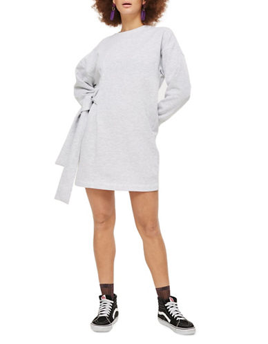 Topshop Oversized Belted Sweater-GREY MARL-UK 12/US 8