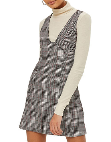 Topshop Check A-Line Pinafore Dress-MULTI-UK 8/US 4