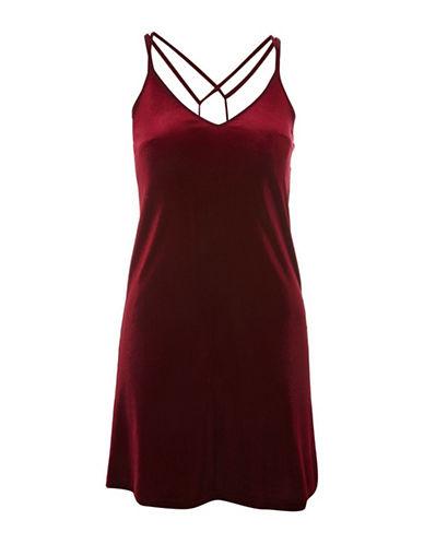 Topshop Velvet Slip Dress-RED-UK 8/US 4
