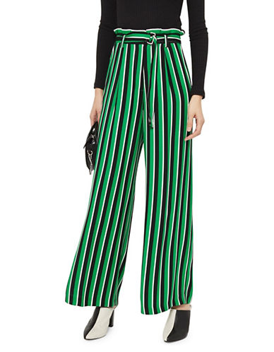 Topshop Stripe Paperbag Wide-Leg Trousers-GREEN-UK 10/US 6