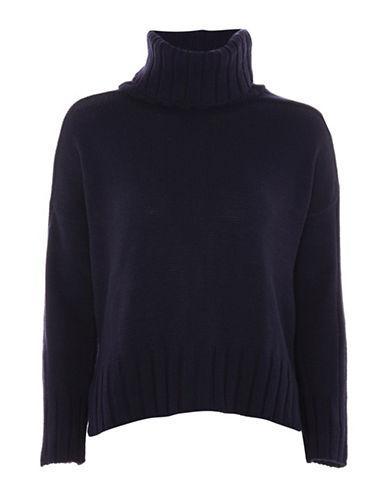 Topshop Saddle-Shoulder Sweater-NAVY BLUE-UK 8/US 4