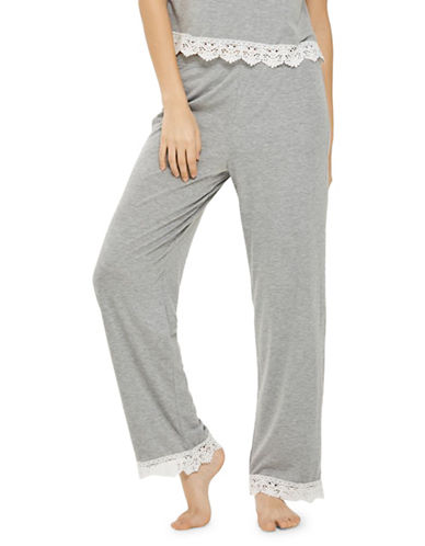 Topshop Crochet Trim Trousers-GREY-UK 6/US 2