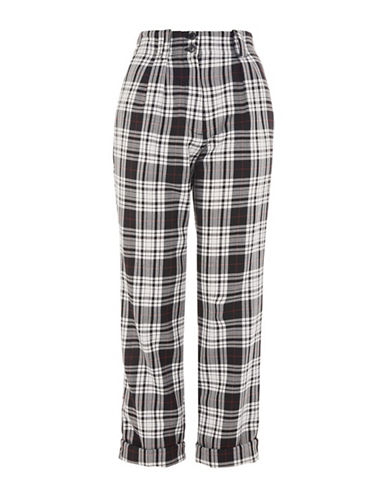 Topshop Tartan Peg Trousers-MONOCHROME-UK 8/US 4