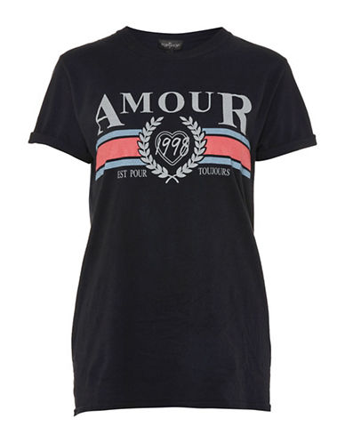 Topshop PETITE Amour Graphic Tee-BLACK-Small