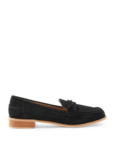 Topshop Lolly Suede Loafers-BLACK-EU 40/US 9.5