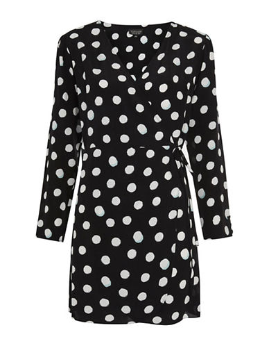 Topshop Spot Print Wrap Mini Dress-BLACK-UK 12/US 8