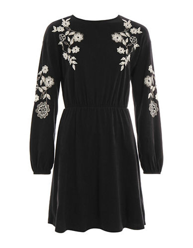 Topshop Embroidered Balloon Sleeve Skater Dress-BLACK-UK 12/US 8