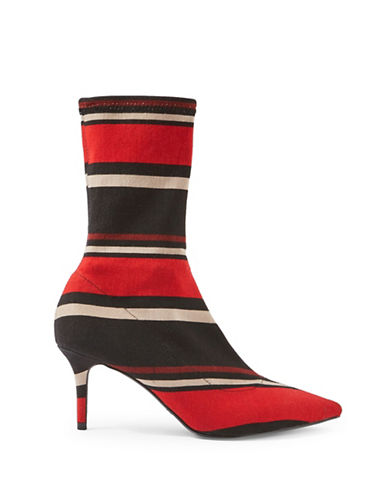 Topshop Mojito Striped Sock Boots-RED-EU 37/US 6.5