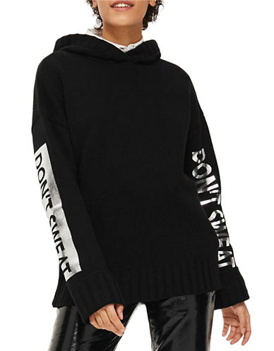 Topshop Dont Sweat Hoodie-BLACK-Small