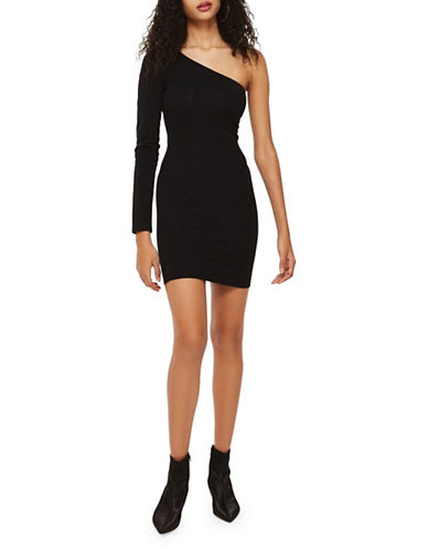 Topshop One-Shoulder Bodycon Dress-BLACK-UK 6/US 2