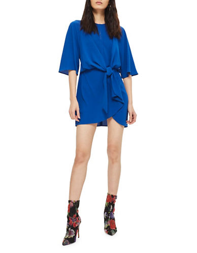 Topshop Knot Front Mini Dress-COBALT-UK 12/US 8