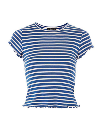 Topshop Lettuce Striped T-Shirt-BLUE-UK 16/US 12