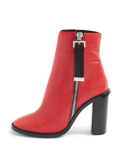 Topshop Hero Leather Ankle Boots-RED-EU 36/US 5.5