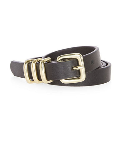 Topshop Triple Keeper Faux Leather Belt-BLACK-Small