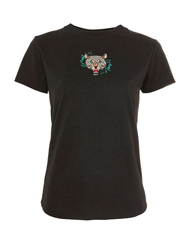 Topshop Wild and Free Cheetah T-Shirt by Tee and Cake-BLACK-UK 12/US 8