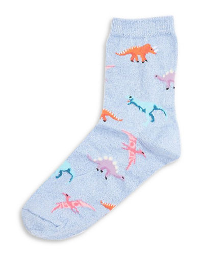 Topshop Glitter Dino Ankle Socks-LIGHT BLUE-1