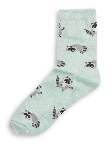 Topshop Glitter Racoon Ankle Socks-MINT-1