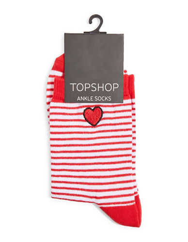 Topshop Embroidered Stripe Heart Ankle Socks-RED-1