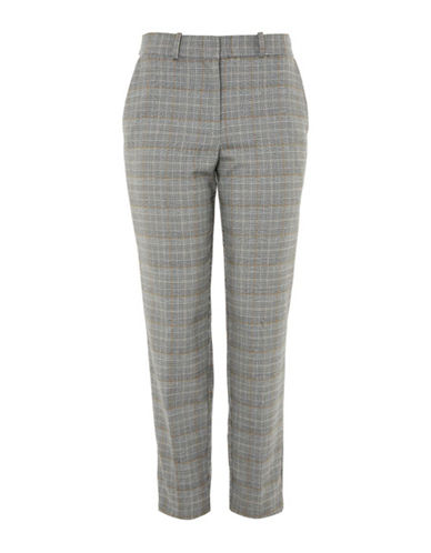 Topshop PETITE Check Tapered Trousers-GREY-UK 10/US 6