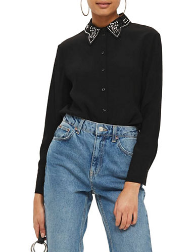 Topshop Gem Collar Blouse-BLACK-UK 12/US 8