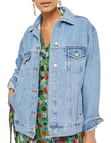 Topshop MOTO Oversized Denim Jacket-MID DENIM-UK 14/US 10