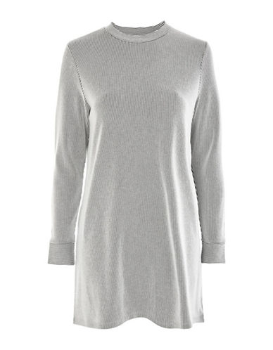 Topshop PETITE Stripe Sweat Dress-CREAM-UK 12/US 8