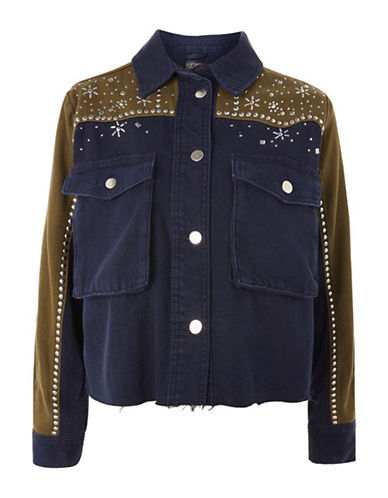 Topshop Rhinestone Cropped Shacket-NAVY-UK 14/US 10
