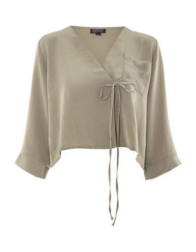 Topshop Tara Tie Wrap Blouse-KHAKI-UK 10/US 6