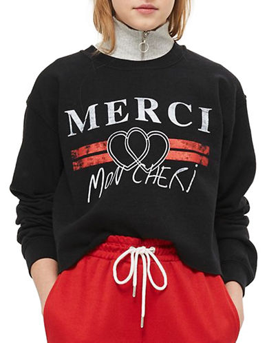 Topshop Merci Cropped Sweatshirt-BLACK-Large