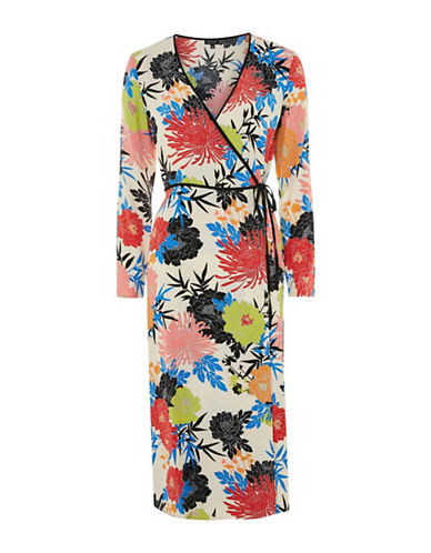 Topshop Floral Wrap Dress-MUTLI-UK 12/US 8