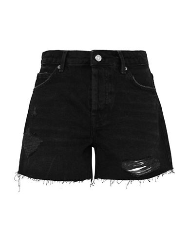 Topshop MOTO Ashley Shorts-WASHED BLACK-UK 14/US 10